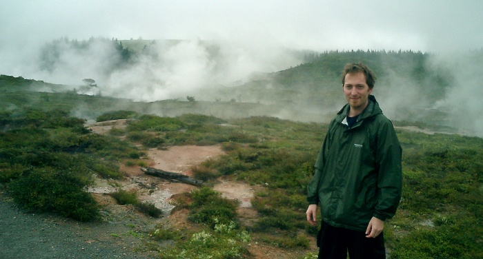 David J Rodger at Craters of the Moon New Zealand 2003 - Volcanic steam clouds drifting over terrain