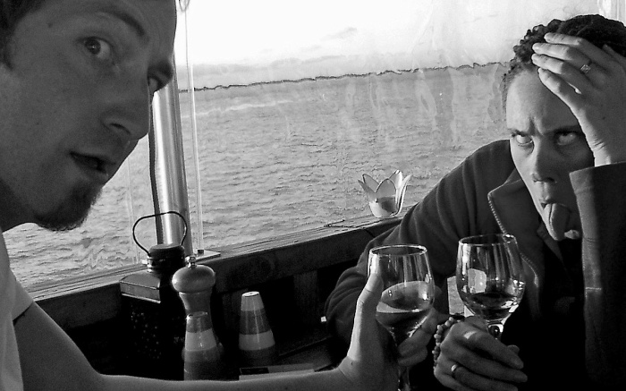 DJR and OJ at Boat Shed Nelson New Zealand - the wine went to her head