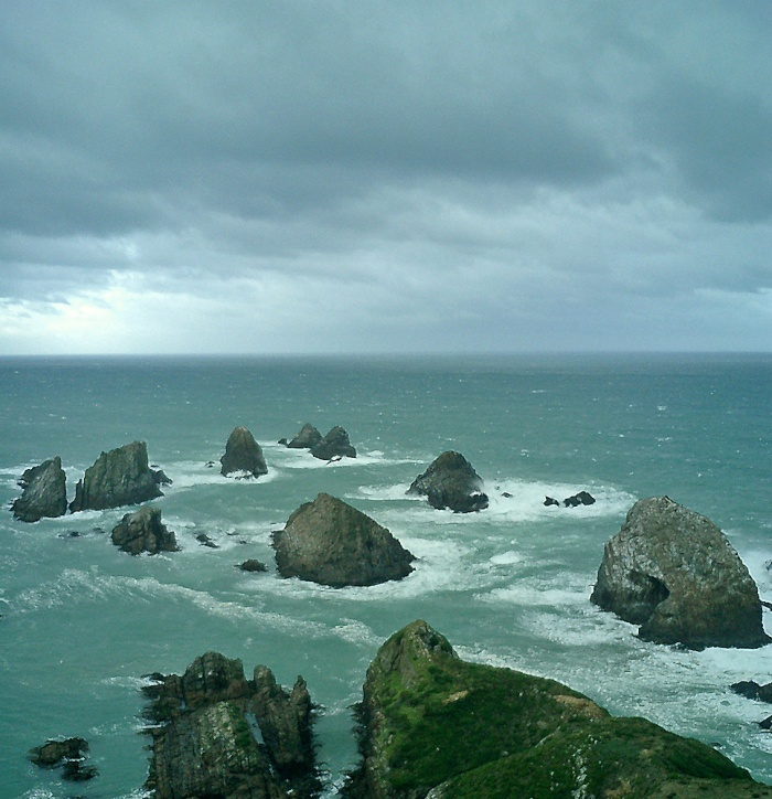 looking south towards Antarctica from Nugget Point New Zealand