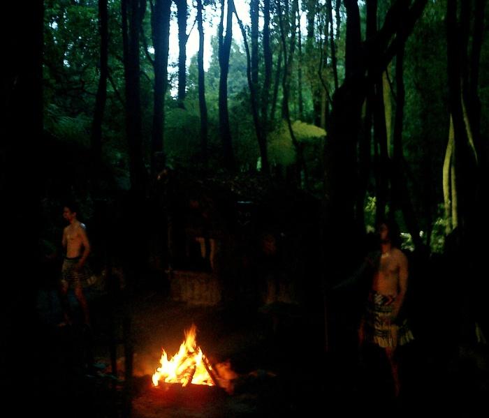 Maori by firelight Tamaki Village New Zealand