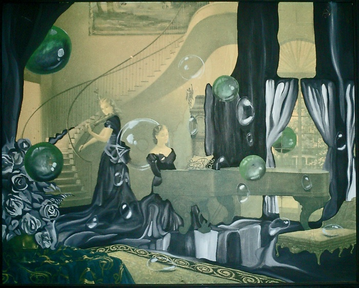 New Zealand artwork Wanganui cafe painting two ladies playing music in surreal dream house