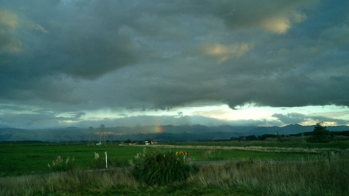 New Zealand - rainbow on the exit from Surf Hellway - next stop Wellington