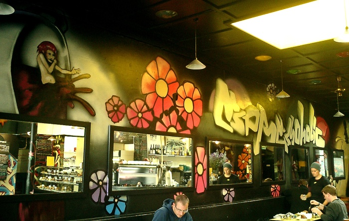 Street Art Grafitti on walls of Expressoholics cafe Wellington New Zealand 2003