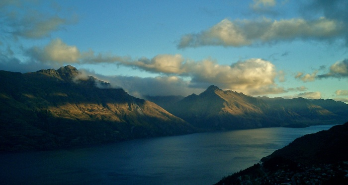The Remarkables at sunset - mountains overlooking Queenstown New Zealand