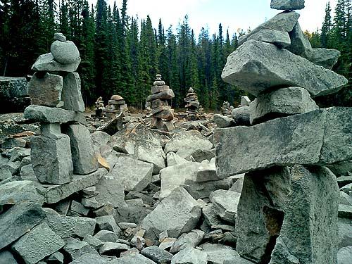Travel Photo Canada 2003 by David J Rodger Inukshuk at Athabasca Falls