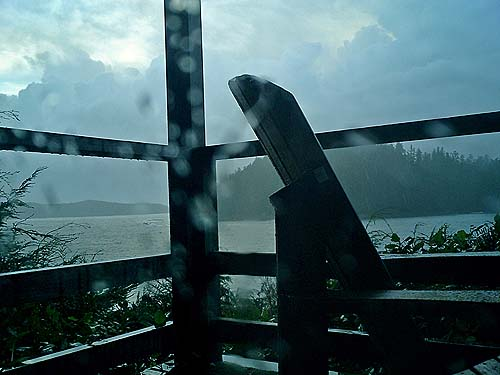 Travel Photo Canada 2003 by David J Rodger Tofino Vancouver Island Duffin Bay Resort room 103 - rain and balcony