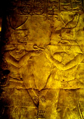 Travel Photo Egypt Nile Cruise Photos by David J Rodger Edfu Temple image of falcon headed Horus giving the Pharaoh the key of life (ankh)