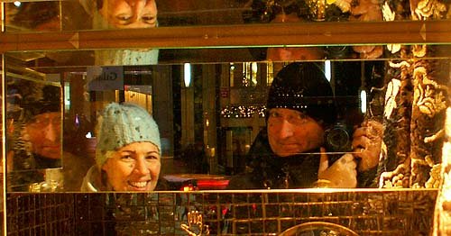 New York - travel photo - Friend and David J Rodger reflected in mirror