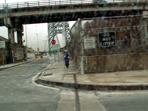 New York - travel photo - George Washington Bridge - Yellow Dawn entrance to infection free zone