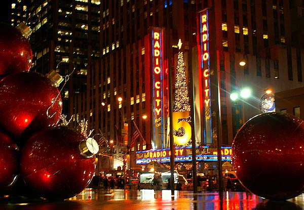 New York - travel photo - giant Christmas baubles