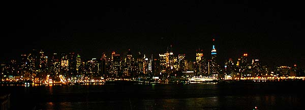 New York - travel photo - Manhattan Skyline at night viewed from New Jersey Weehawken