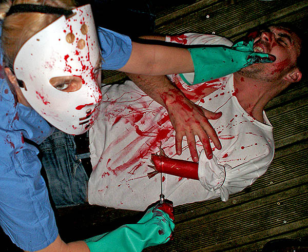 Halloween Party Bristol UK man arm hacked off with knife by psycho in a mask