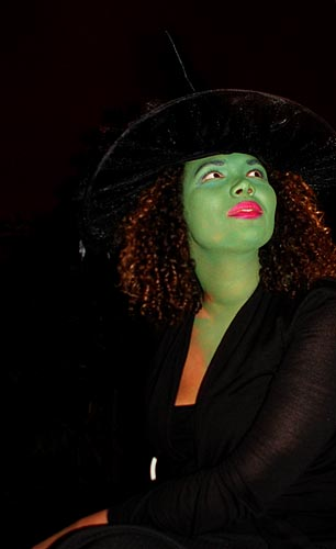 Portrait green faced wicked witch Halloween Party photo David J Rodger