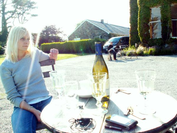 Cornwall England - travel photo - Tredethy House hotel chilled white wine on edge of estate lawn