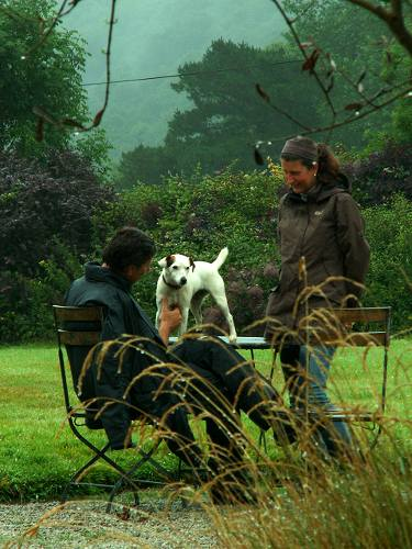 Cornwall England - travel photo - Tredethy House hotel - the family dog rosie meets new guests