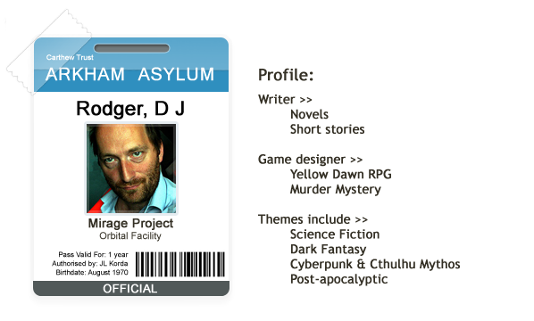David J Rodger Identity Card for Arkham Asylum - Orbital Lab
