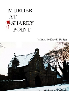 cover for murder at sharky point - dinner party game - murder mystery to download or print