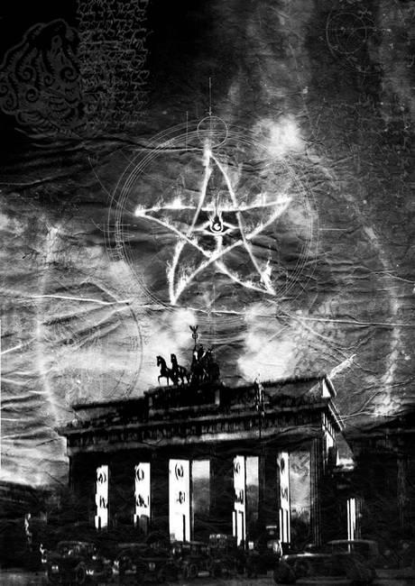 brandenburg gate with cthulhu mythos imagery