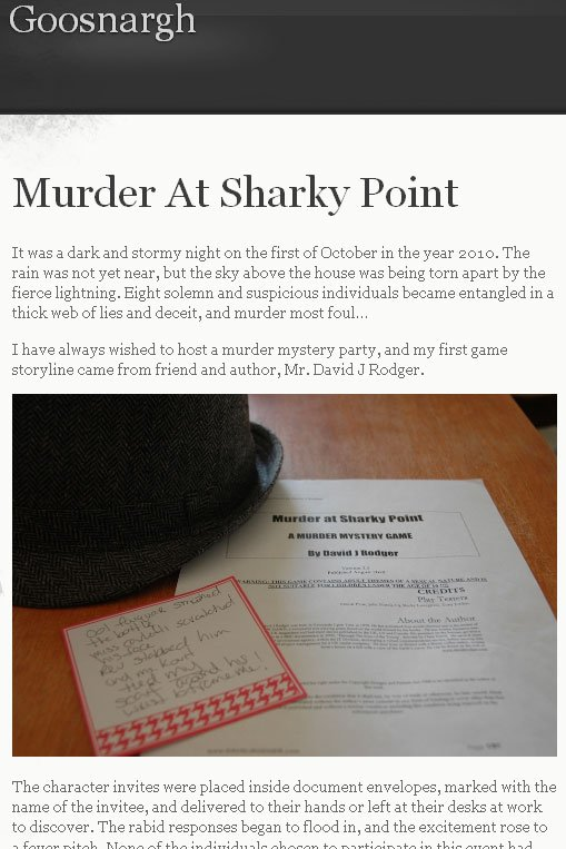 Review of Murder at Sharky Point – a dinner party game and murder mystery download