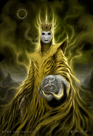 Hastur as the King in Yellow weilding The Yellow Sign