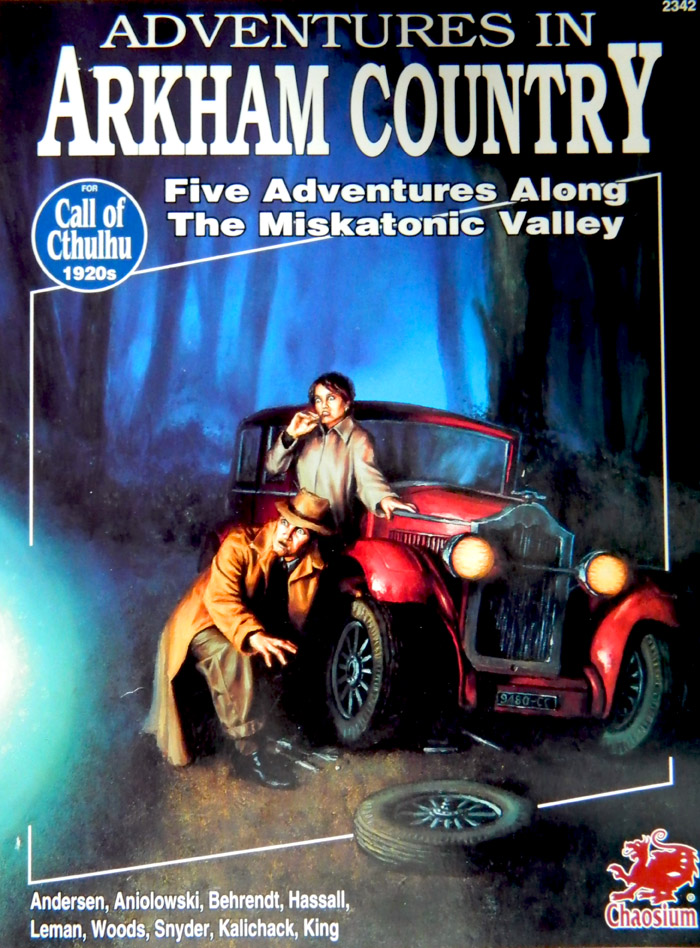 Cover of Adventures in Arkham Country - a Call of Cthulhu scenario book published by Chaosium - painting by Stephen King
