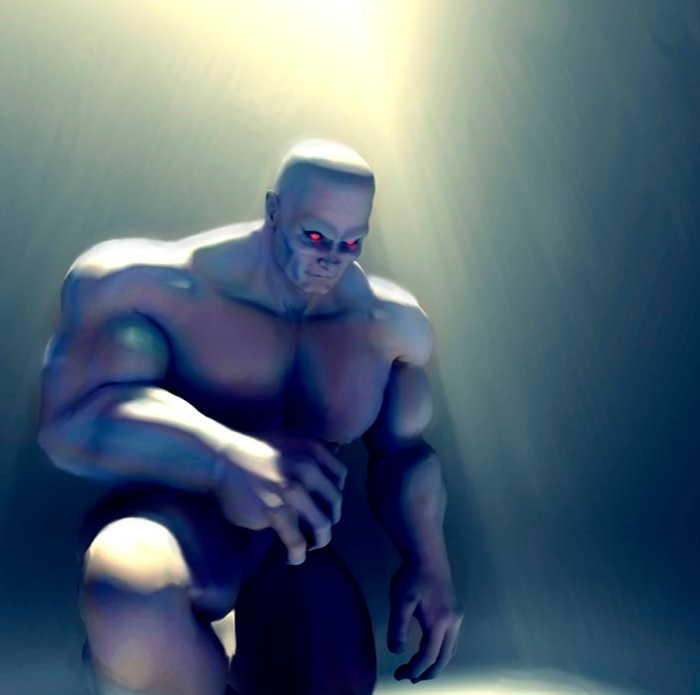 Science fiction Art - Beef Clone - vat-grown muscle monster - Digital Paint by Benedict Campbell