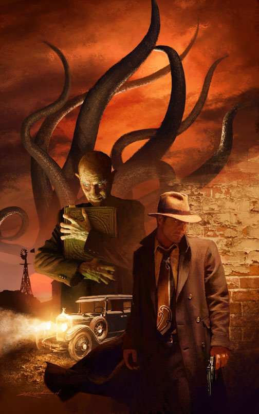Dark Art Cthulhu Mythos sorcerer & 1920s detective with a gun whilst tentacles writhe in a burning sky