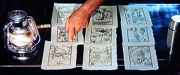 The Ninth Gate Boris Balkan assembles the woodcut engravings to solve the riddle