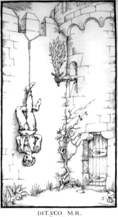 Woodcut Engraving from The Ninth Gate I enrich myself with death by Aristide Torchia