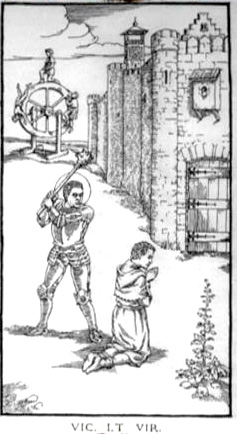 Woodcut Engraving from The Ninth Gate Virtue is conquered by Lucifer