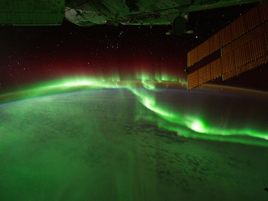 Aurora australis viewed from international space station image by