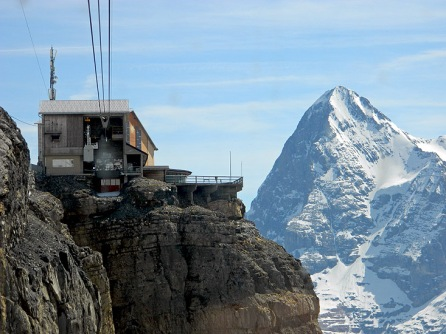 Cable Car Approach to Schilthorn Mountain Switzerland