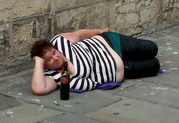 Drunk woman in Bath