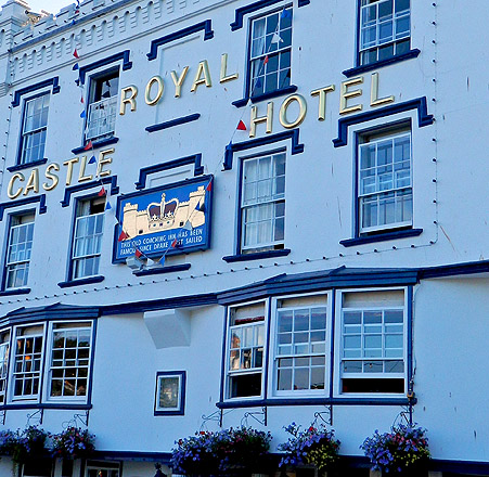 facade of the Royal Castle Hotel in Dartmouth