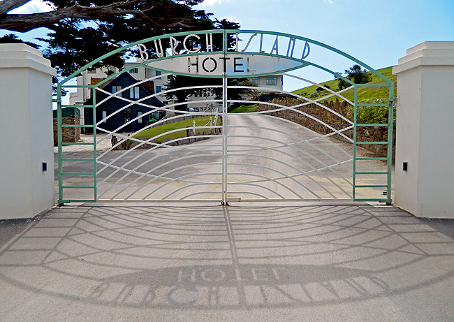 Gates of original 1930s hotel on Burgh Island and location used in Agatha Christie Evil Under the Sun