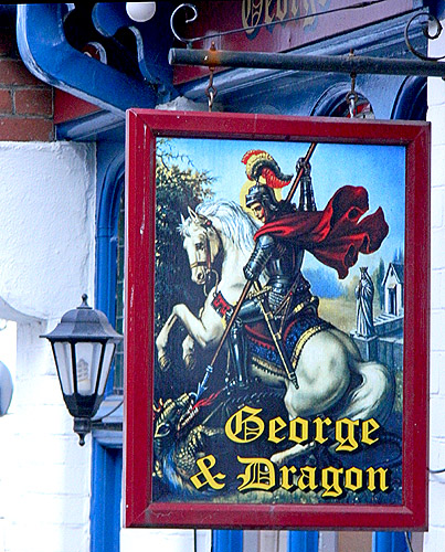 George and Dragon old pub sign in Dartmouth