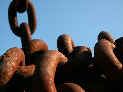 Historical Large Link Chains Covered in Rust