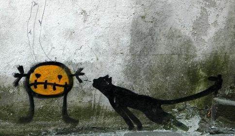 Lemon Figure and Black Cat Santiago Spain
