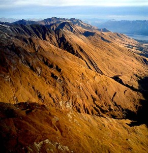 New Zealand South Island Mountains at sunset