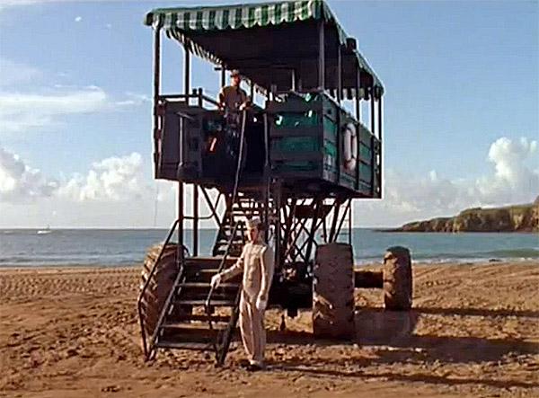 Sea Tractor close up used to reach Burgh Island - Agatha Christie Evil Under the Sun