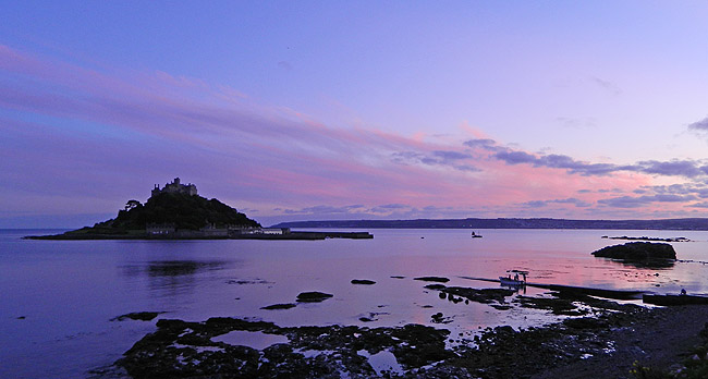 St Michael's Mount in Cornwall at Sunset