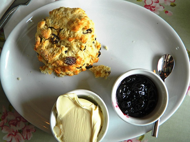 the best cream tea in the world fruit scone clotted cream and jam from The Gateway Tearoom Mortenhampstead, Dartmoor