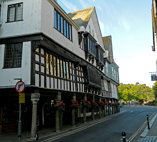 the Butterwalk in Dartmouth dating from 17th century and once used by Charles II