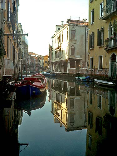 Venice waterway reflection of buildings in canal