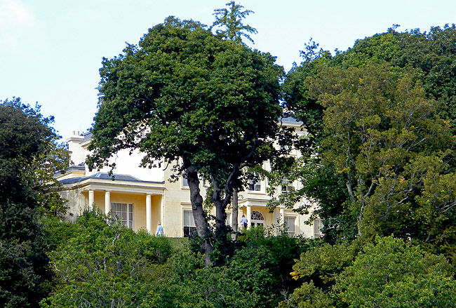 view of  Greenway Estate from River Dart, owned by Agatha Christie