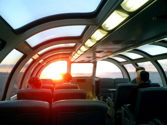 Viewing compartment on train crossing Saskatchewan Canada