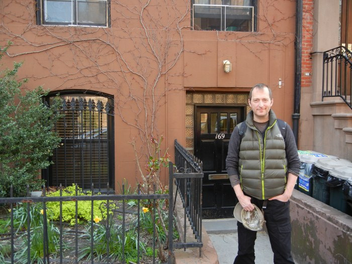 sci-fi and dark fantasy author David J Rodger outside 169 Clinton Street Brooklyn residence of H P Lovecraft 1925 - 1926 where he wrote Horror At Red Hook
