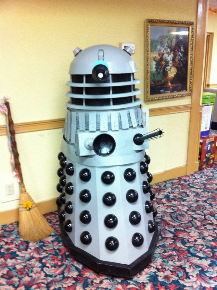 A Dalek called Chad extraterrestrial mutant from the British science fiction television series Doctor Who brought to life by Major Sebastian Perry
