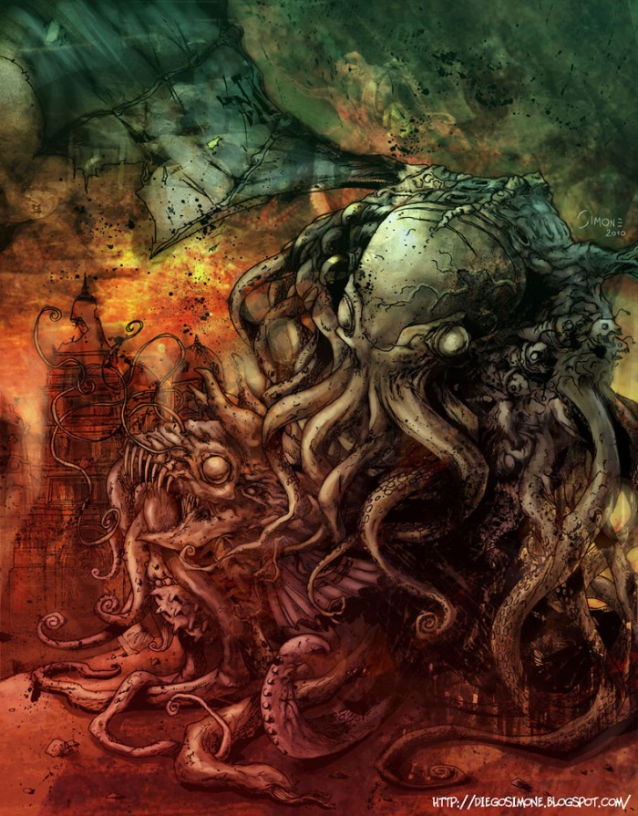 Dark Art ¦ The master of monstrous dreams - Great Cthulhu - by Diego Simone