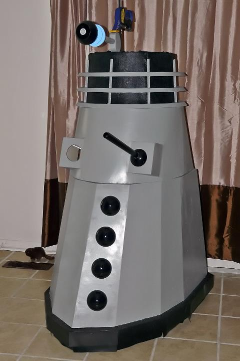 How to build a Dalek First of the hemis painted and fitted...Gun construction started and test fitted